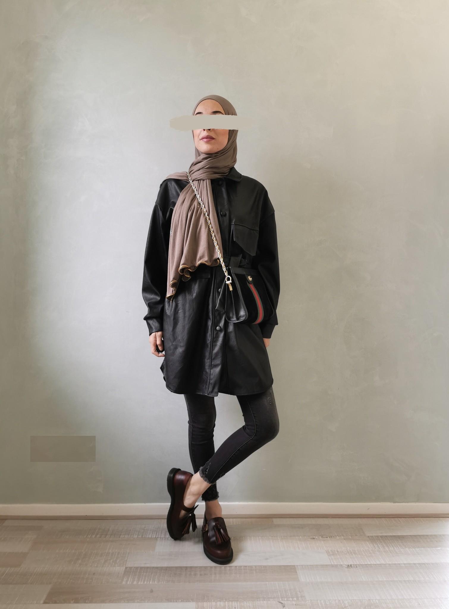Leather look jasje eston zwart