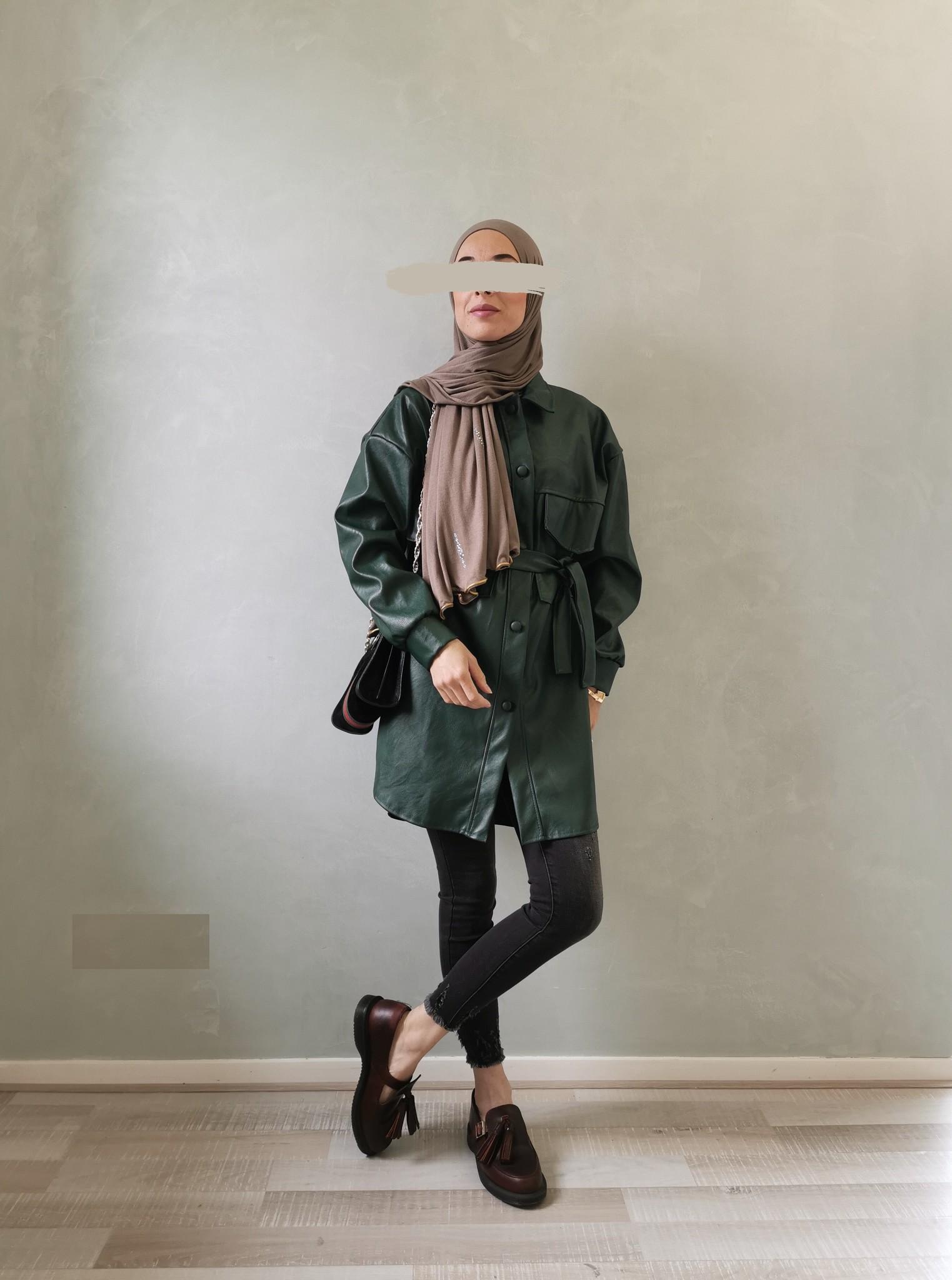 Leather look jasje eston groen