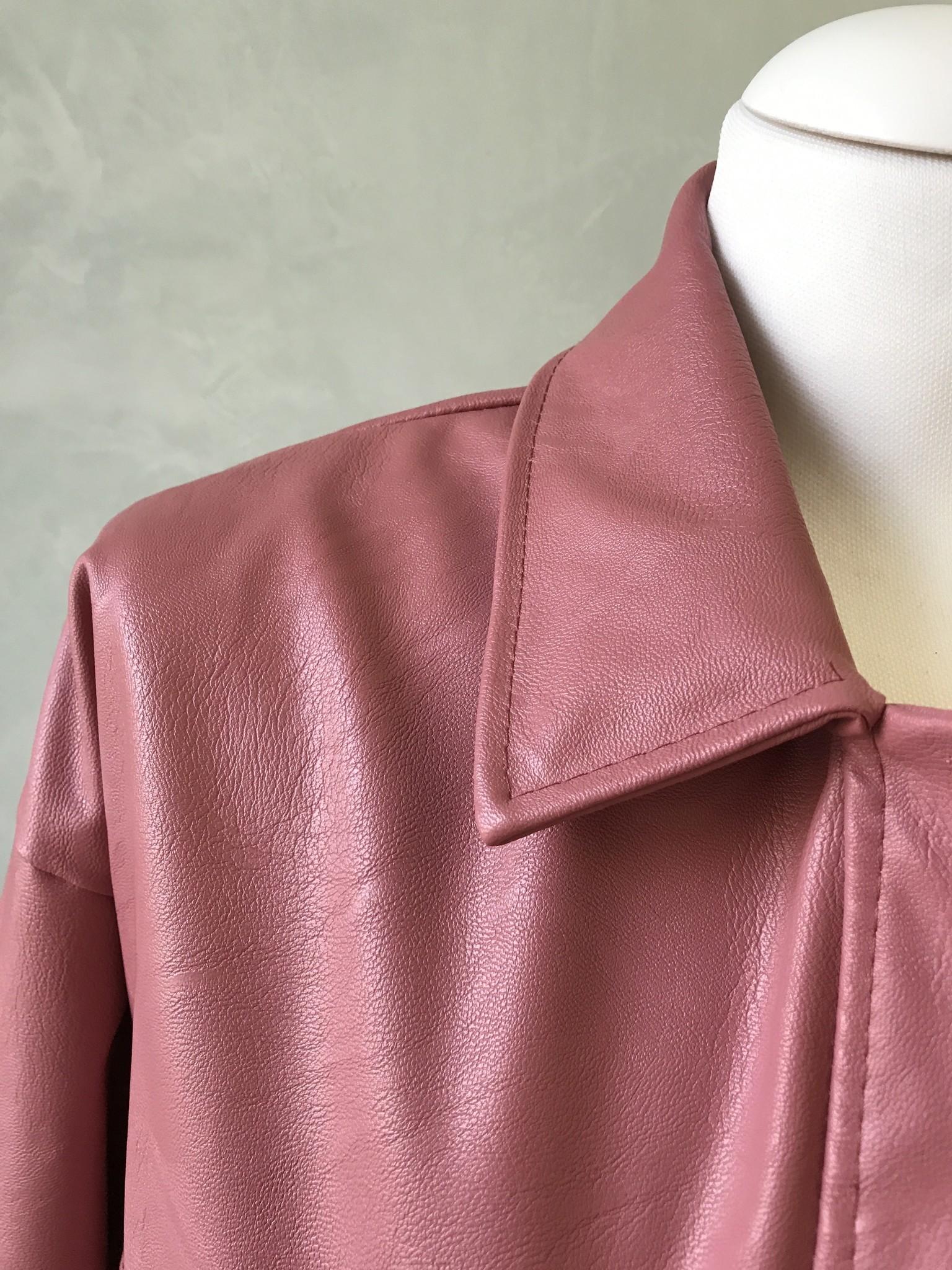 Leather look jasje eston roze