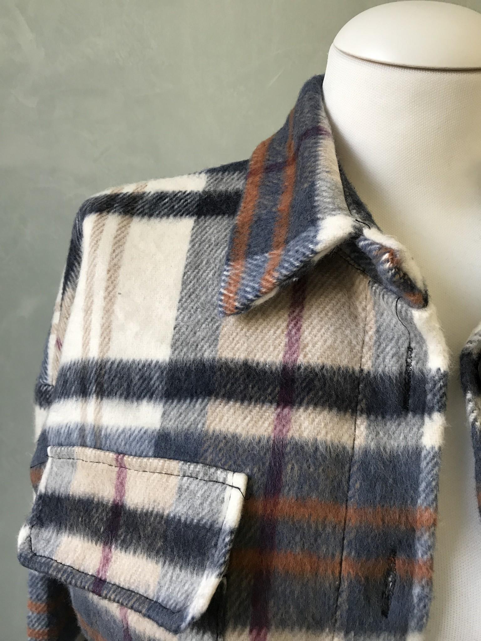 Shirt-jacket farehame checked grey