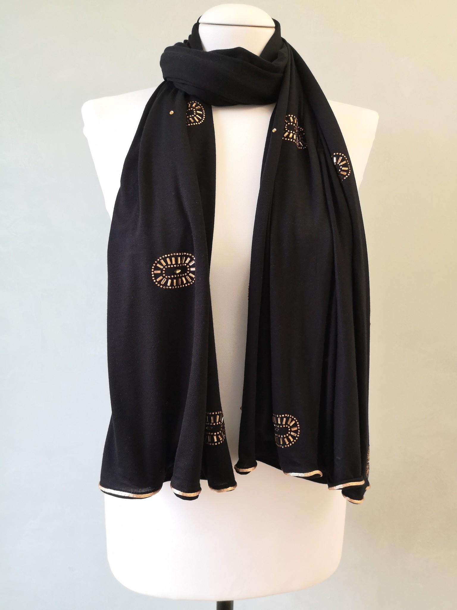strass sjaal tracka zwart-gr