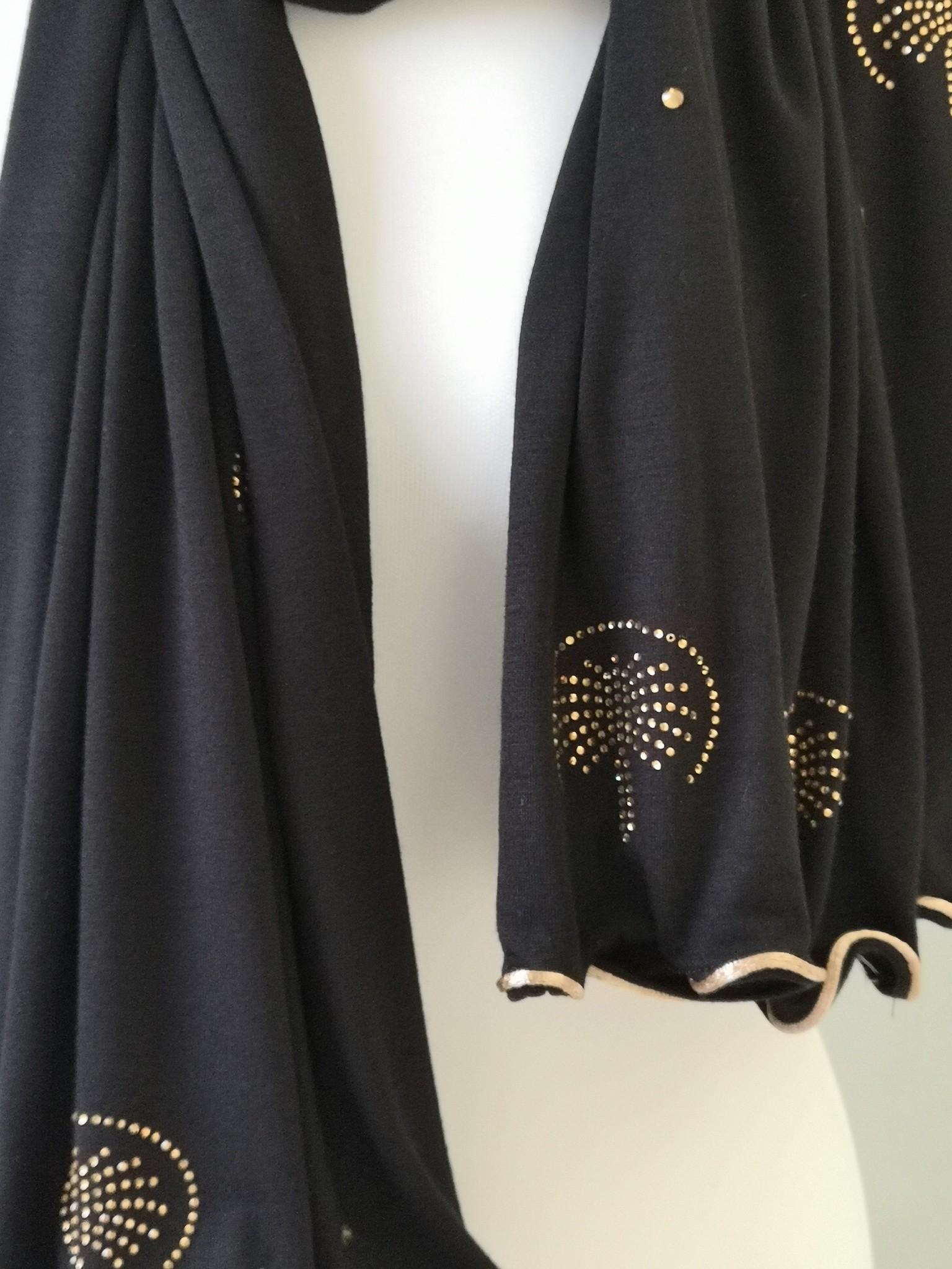 strass sjaal palma zwart-gr