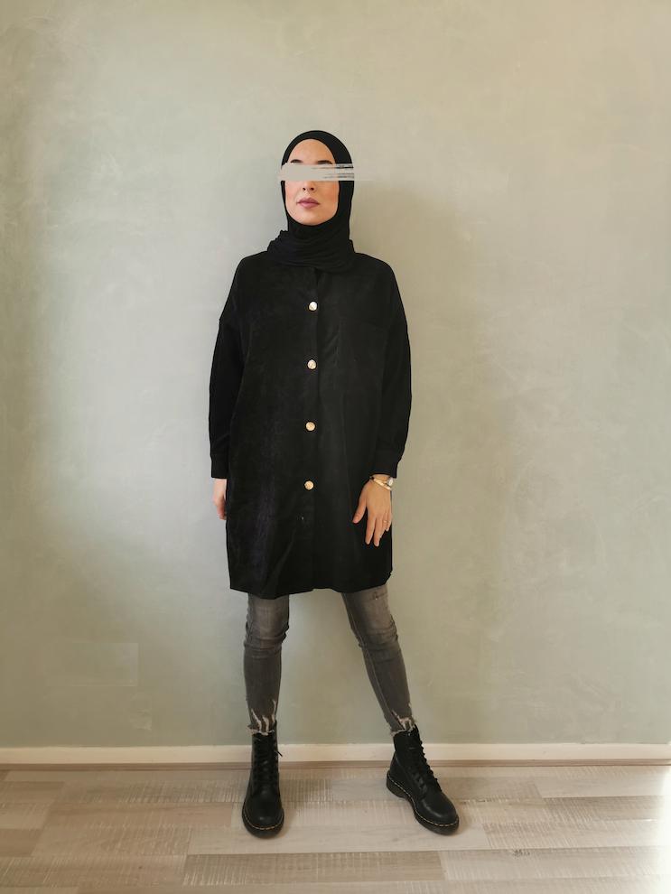 Curduroy blouse antelao zwart