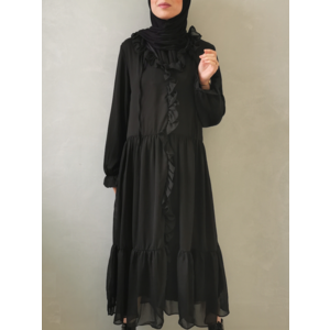 Volant dress ventosa black