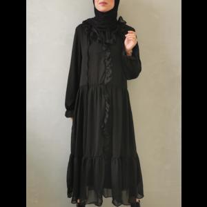 Volant jurk ventosa zwart