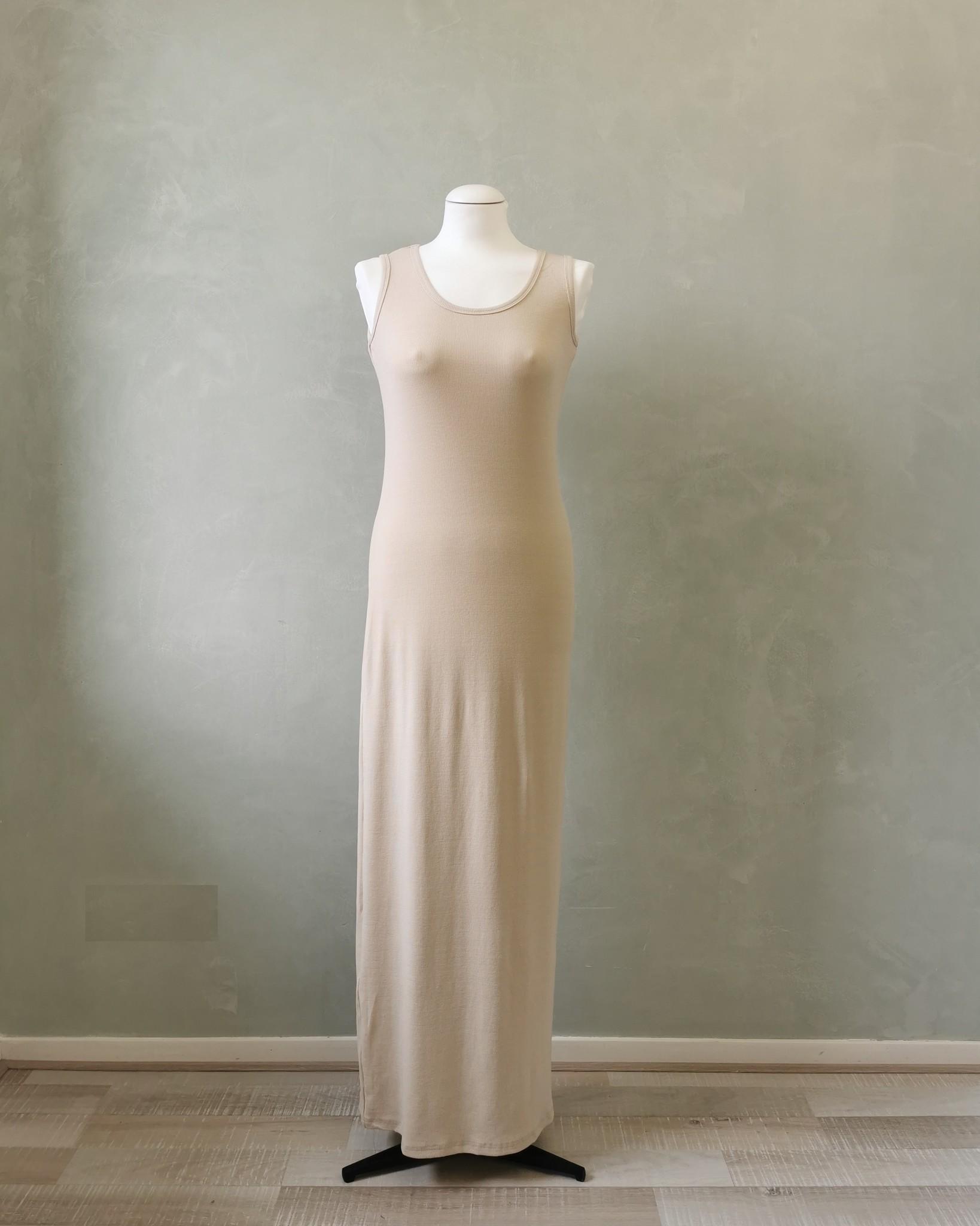 Mouwloze jersey body jurk isola  beige