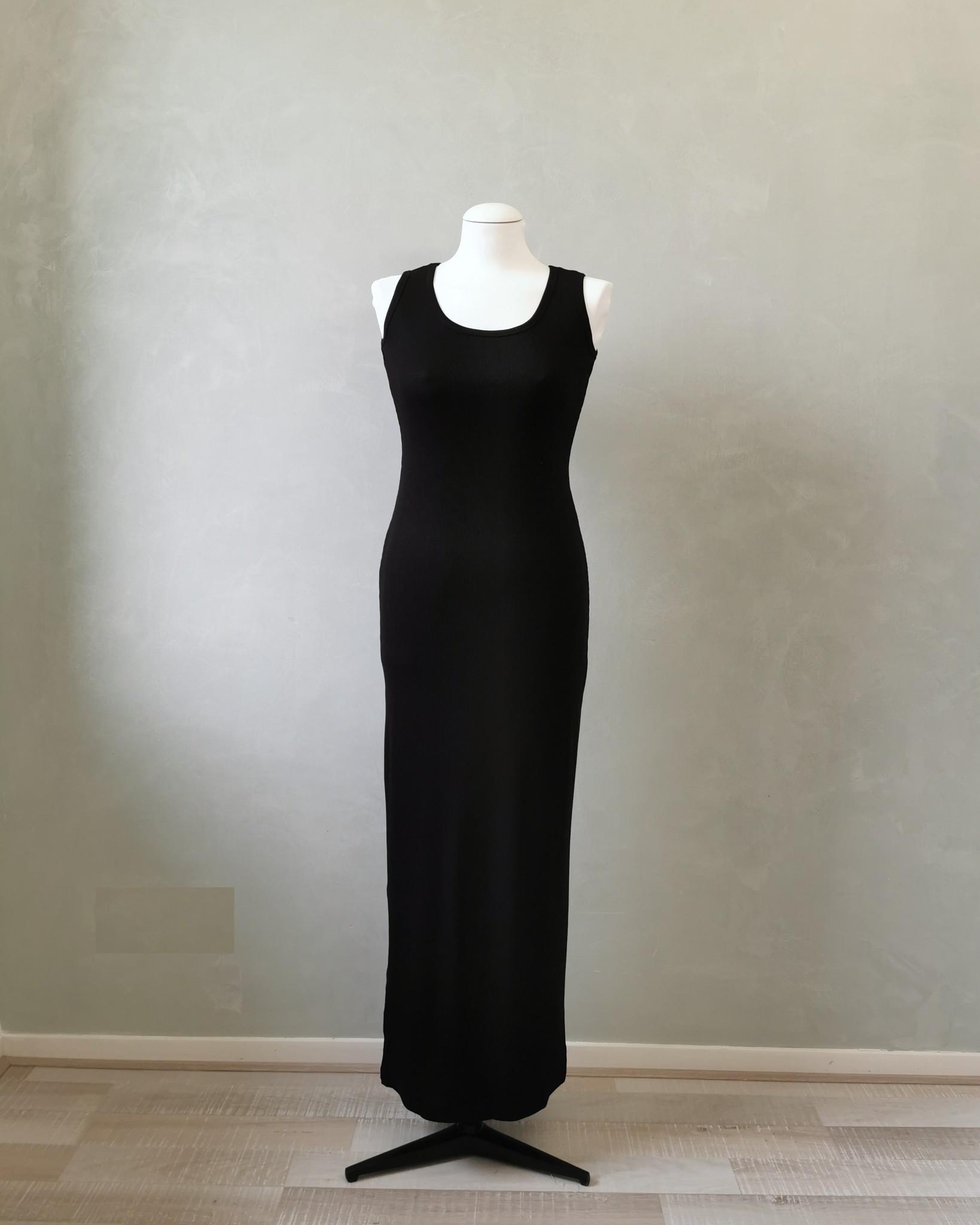 Mouwloze jersey body jurk isola zwart
