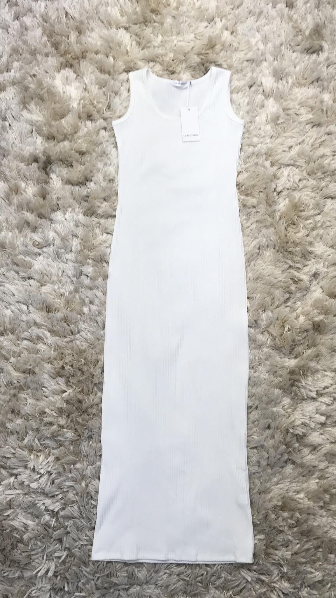 Mouwloze jersey body jurk isola  wit