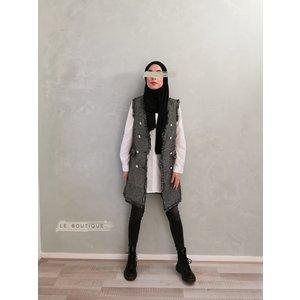 Mouwloze tweed jasje ryde zwart