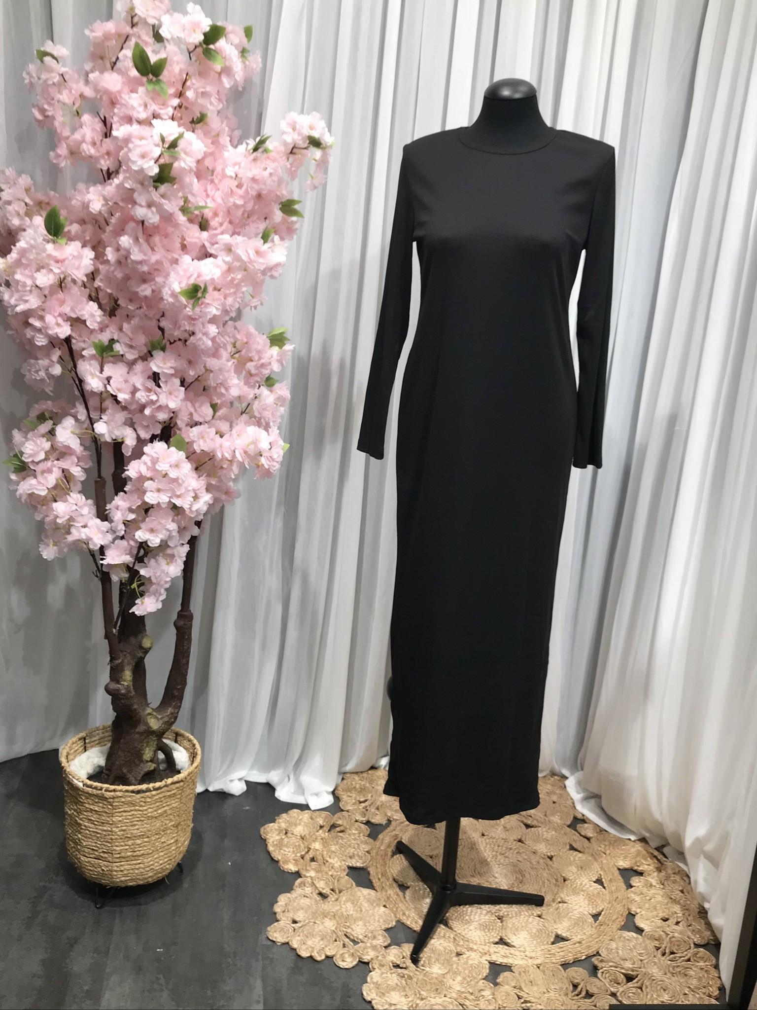 Jersey body dress slim-fit acciaroli II zwart