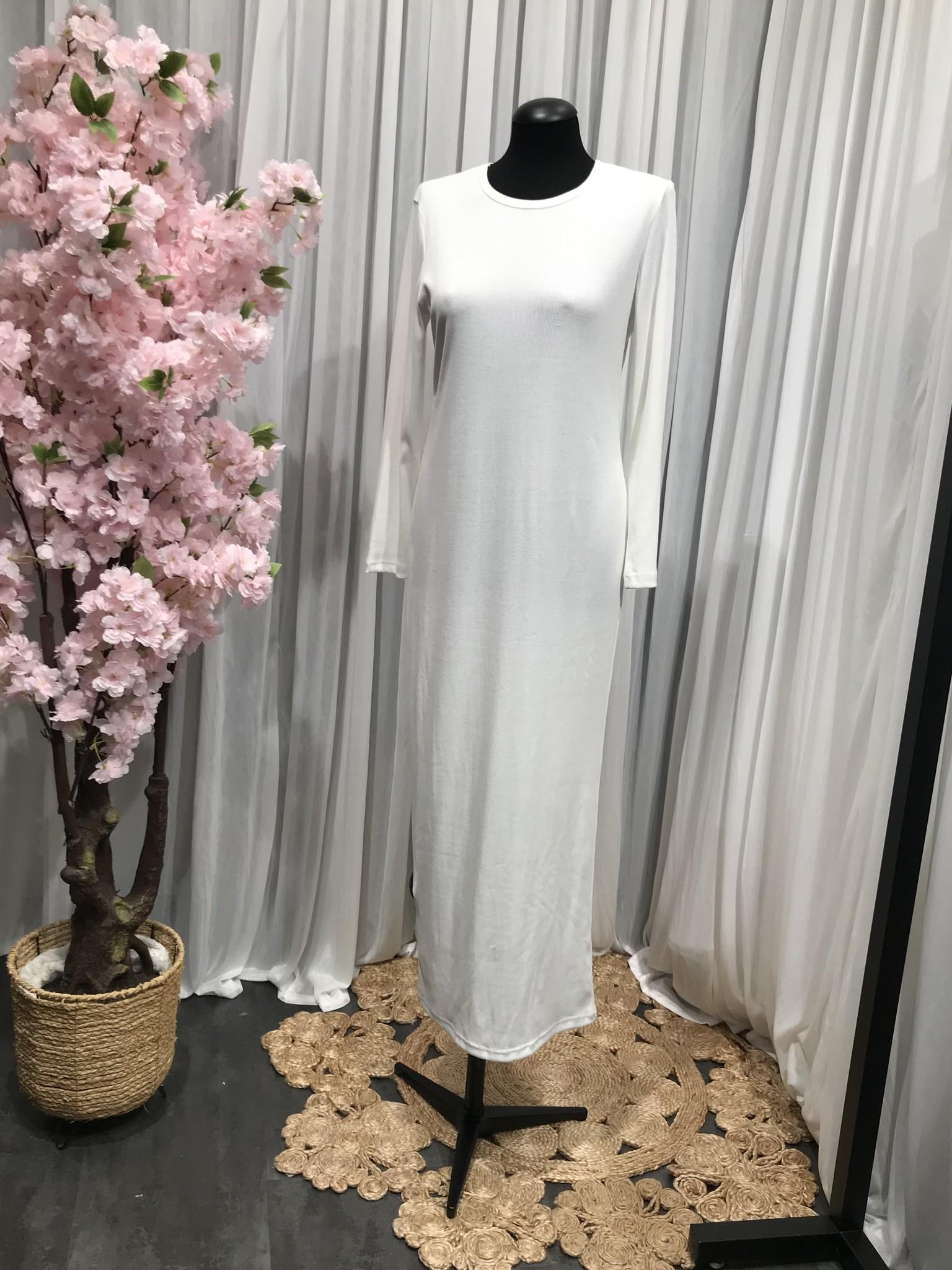 Jersey body dress slim-fit acciaroli II wit