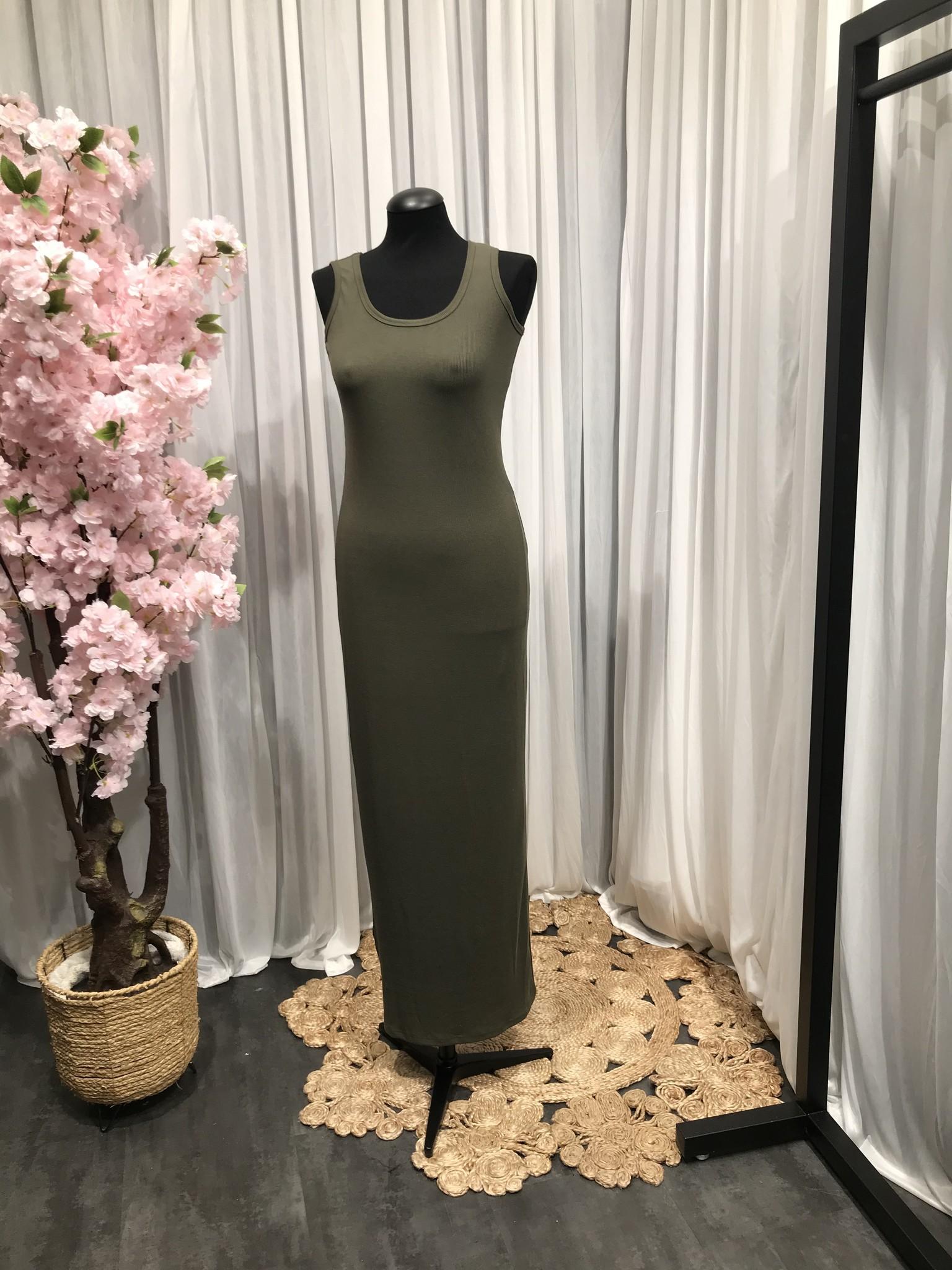 Mouwloze jersey body jurk isola khaki