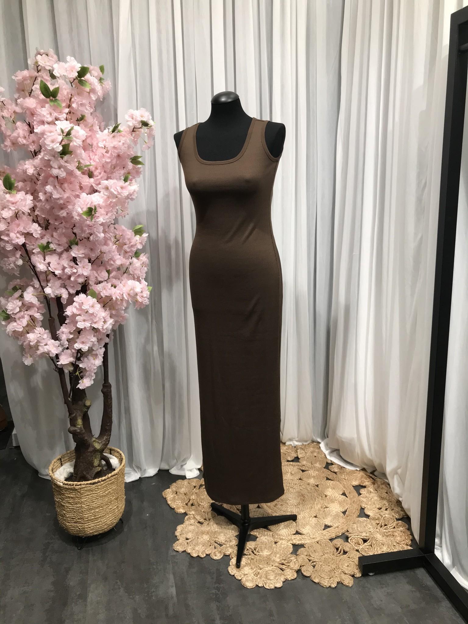 Mouwloze jersey body jurk isola d-bruin