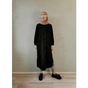 lange ribbel tuniek- zwart