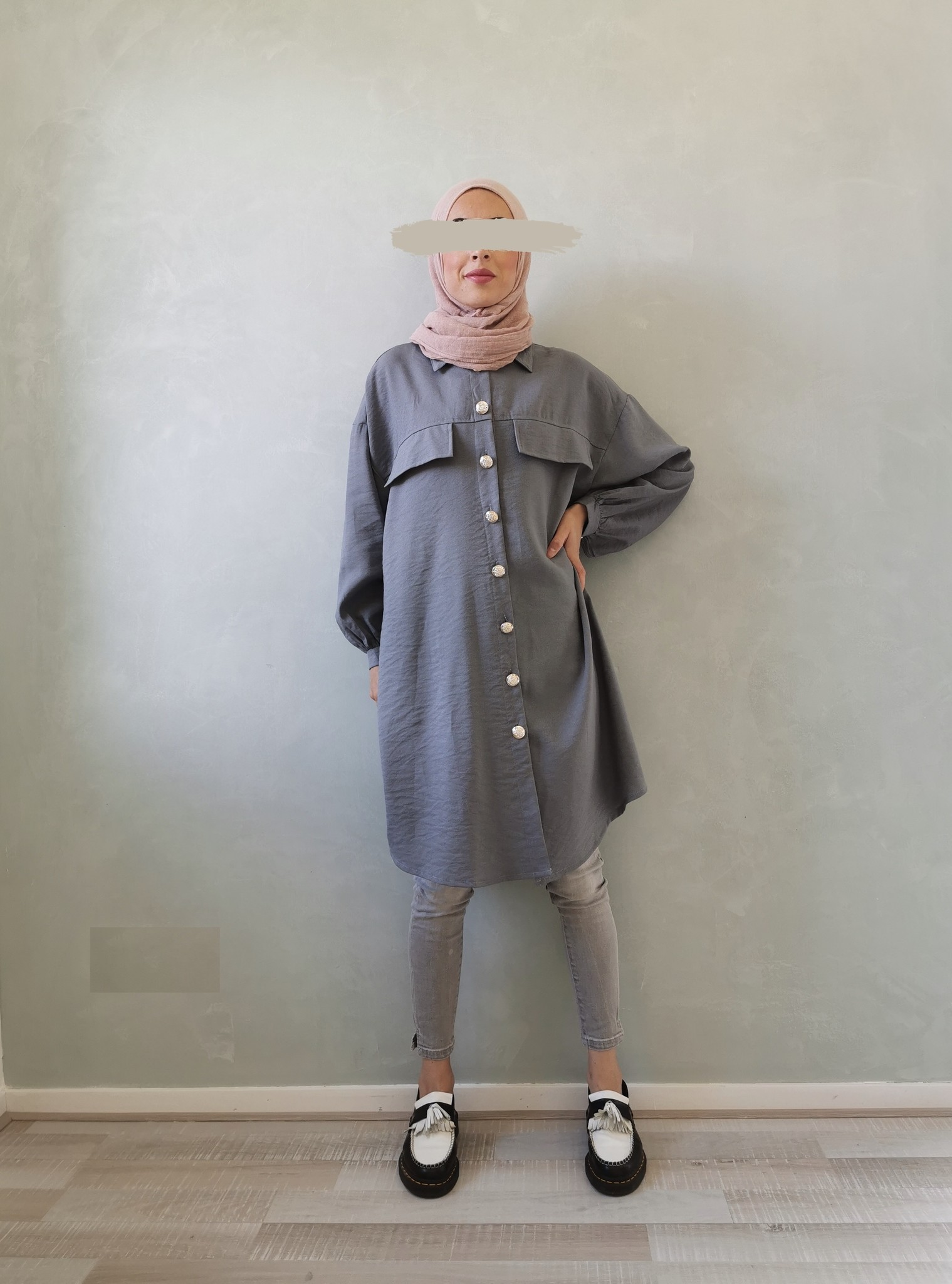 Oversized blouse giusto blauw - Copy