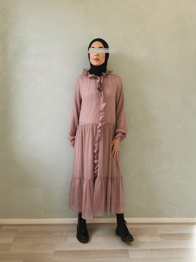 Volant jurk ventosa roze - Copy