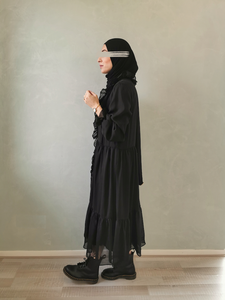 Volant jurk ventosa zwart - Copy
