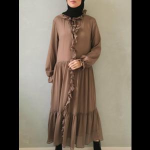 Volant dress ventosa camel - Copy