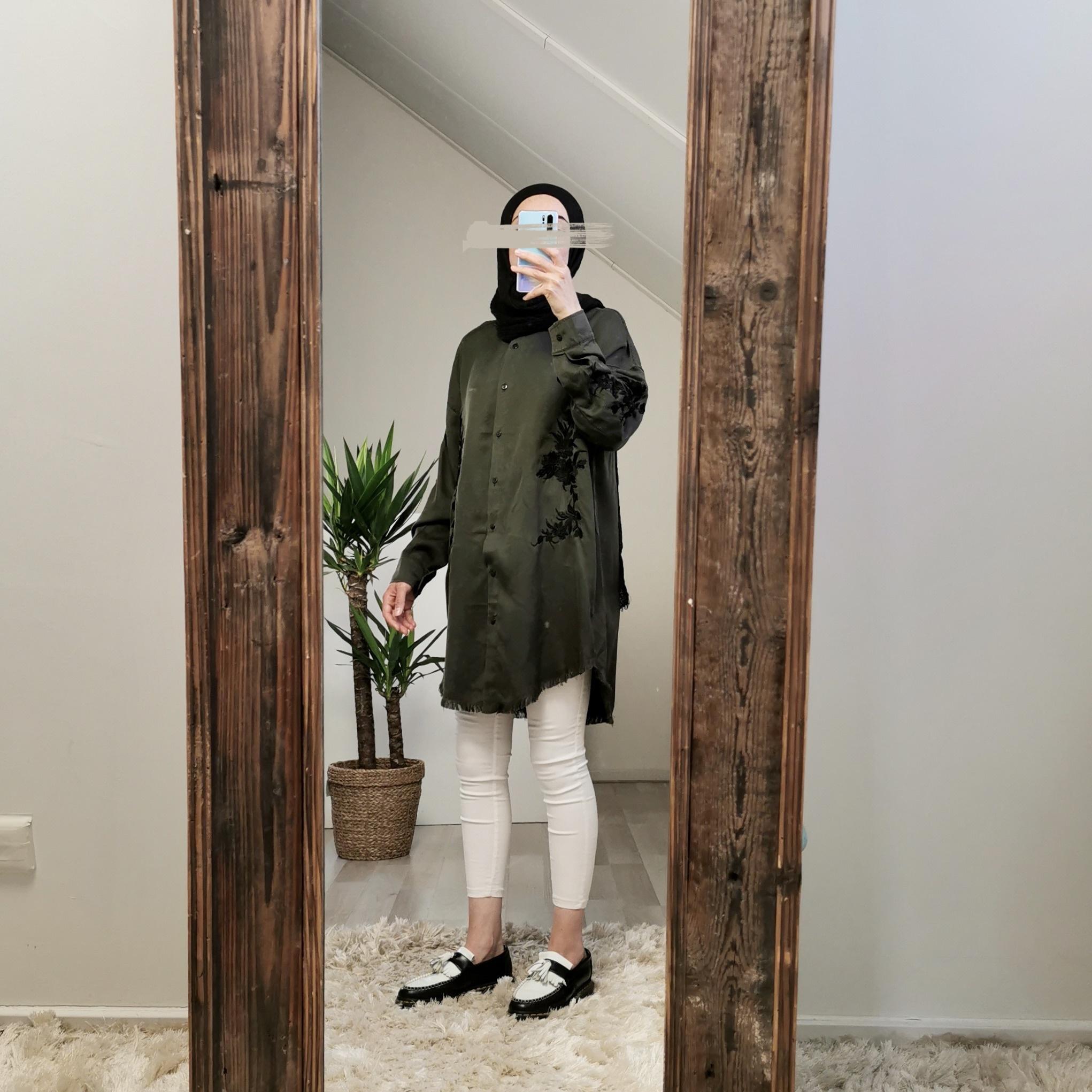 Oversized blouse trapani groen-zw   - Copy