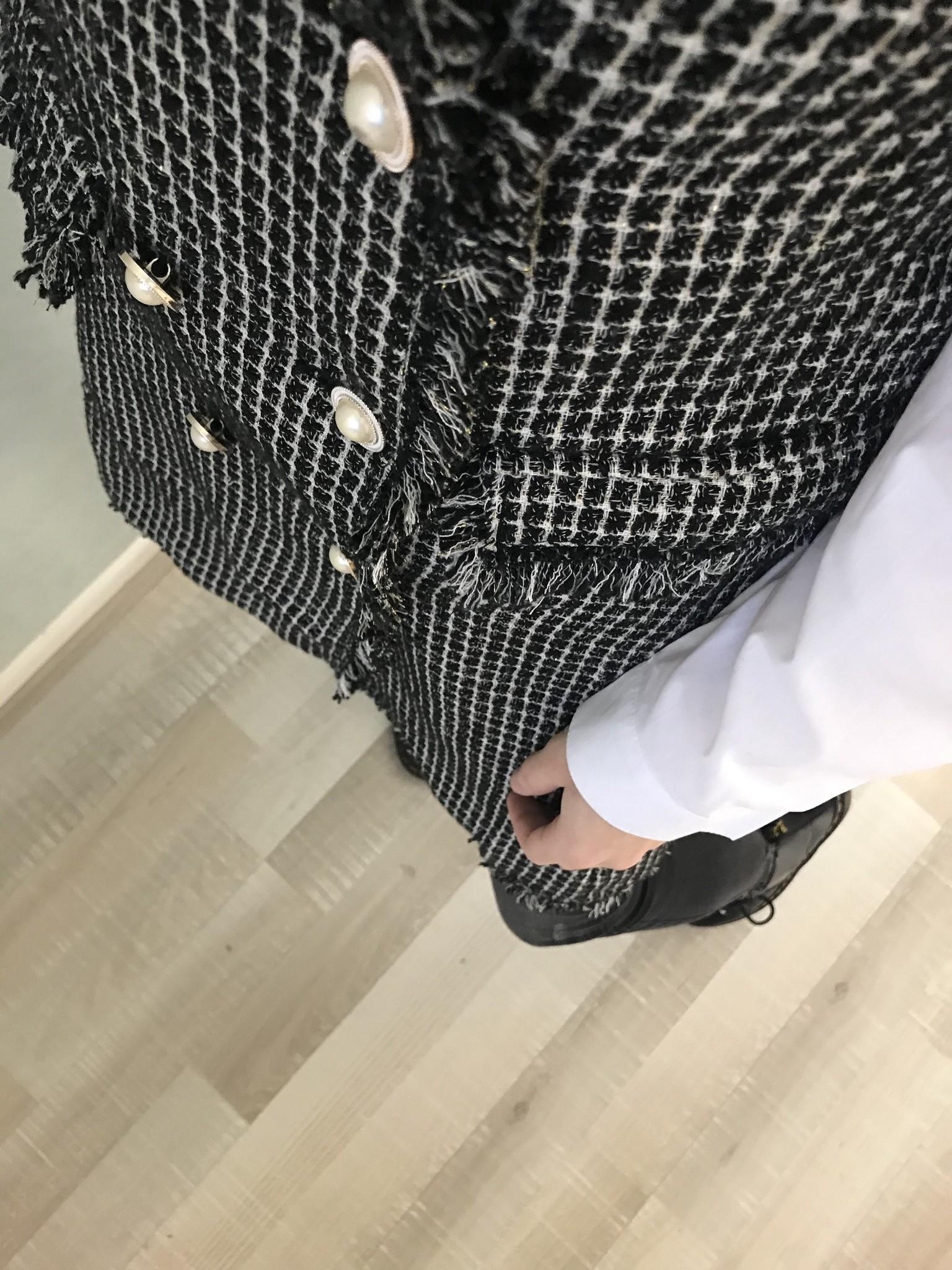 Tweed jacket no sleeves ryde black - Copy