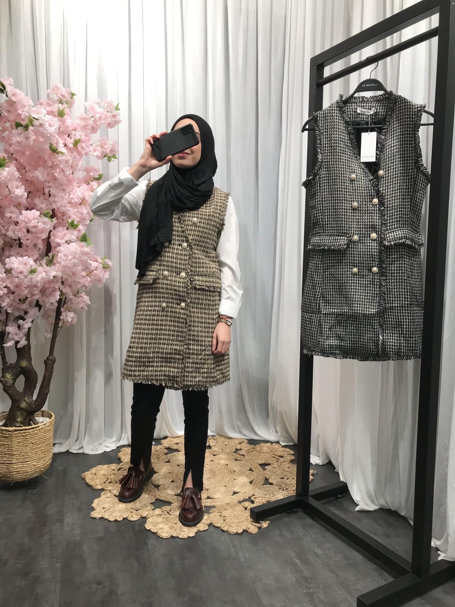 Mouwloze tweed jasje ryde beige - Copy