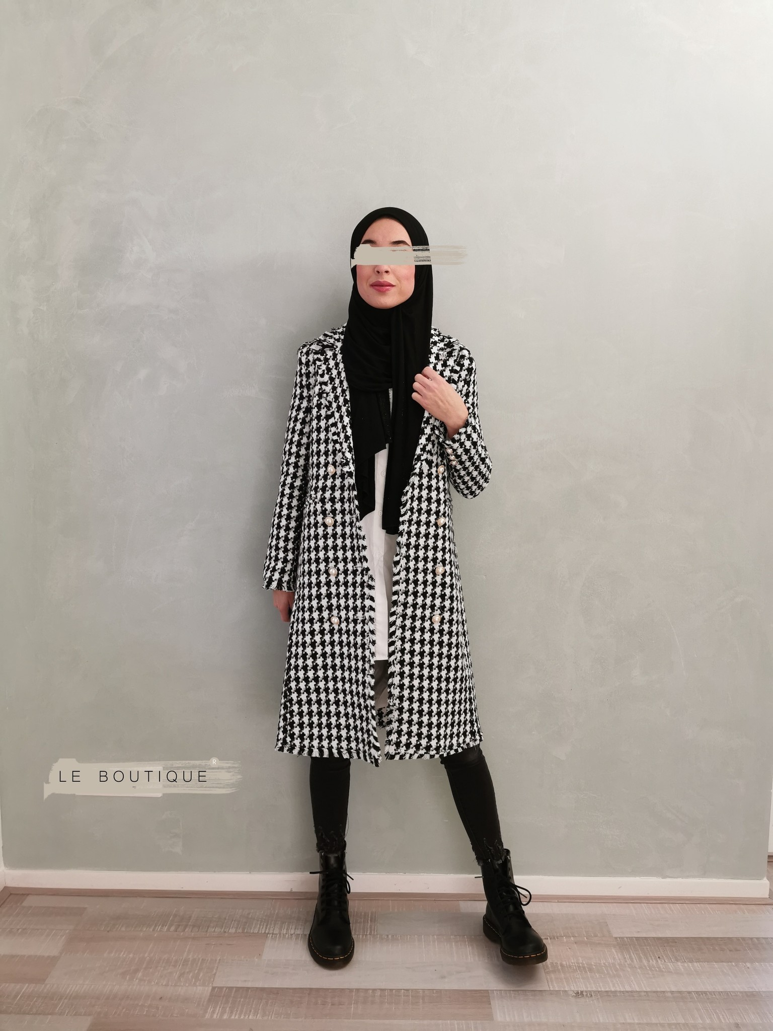 Tweed coat tipton black - Copy