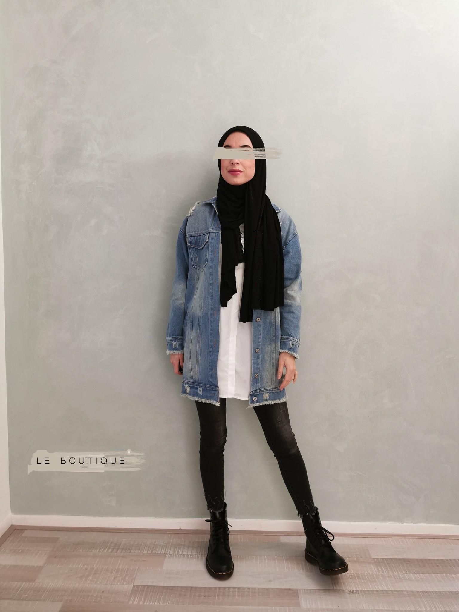 Ripped denim jacket l-blue   - Copy