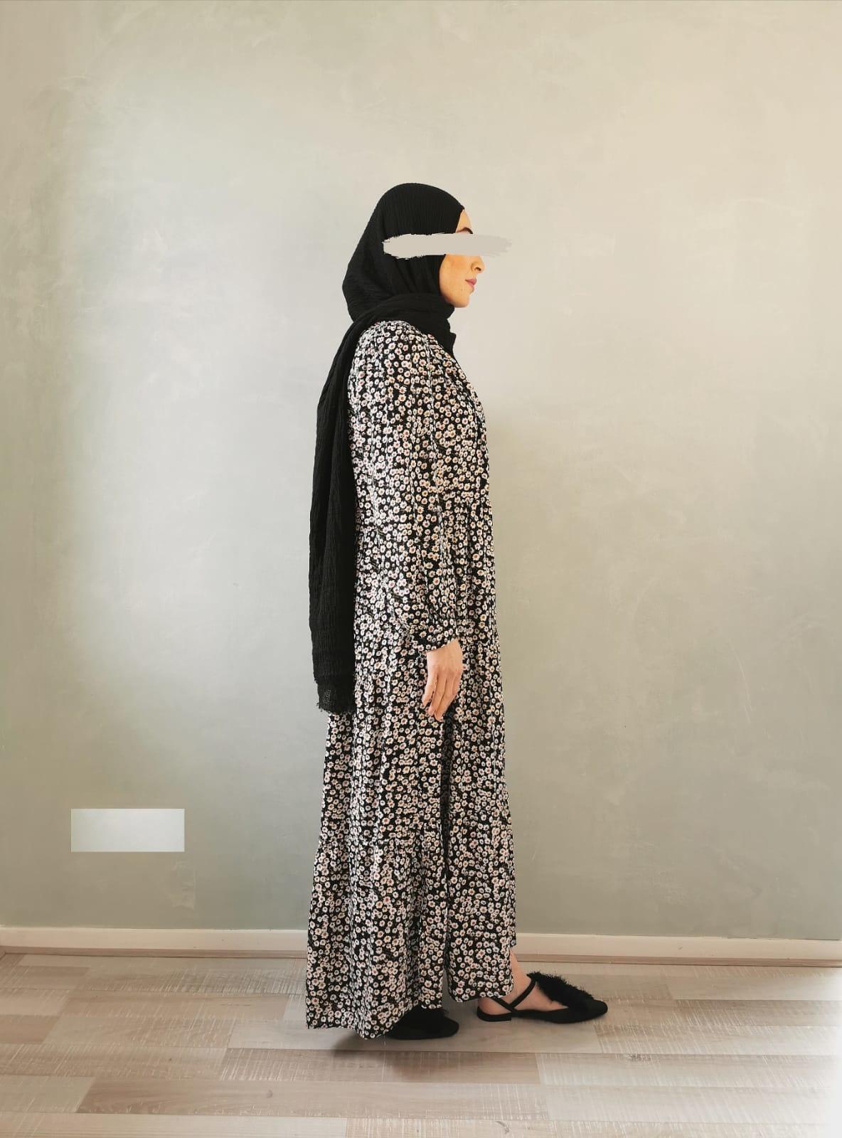 Jurk bloemenprint zwart (cotton)