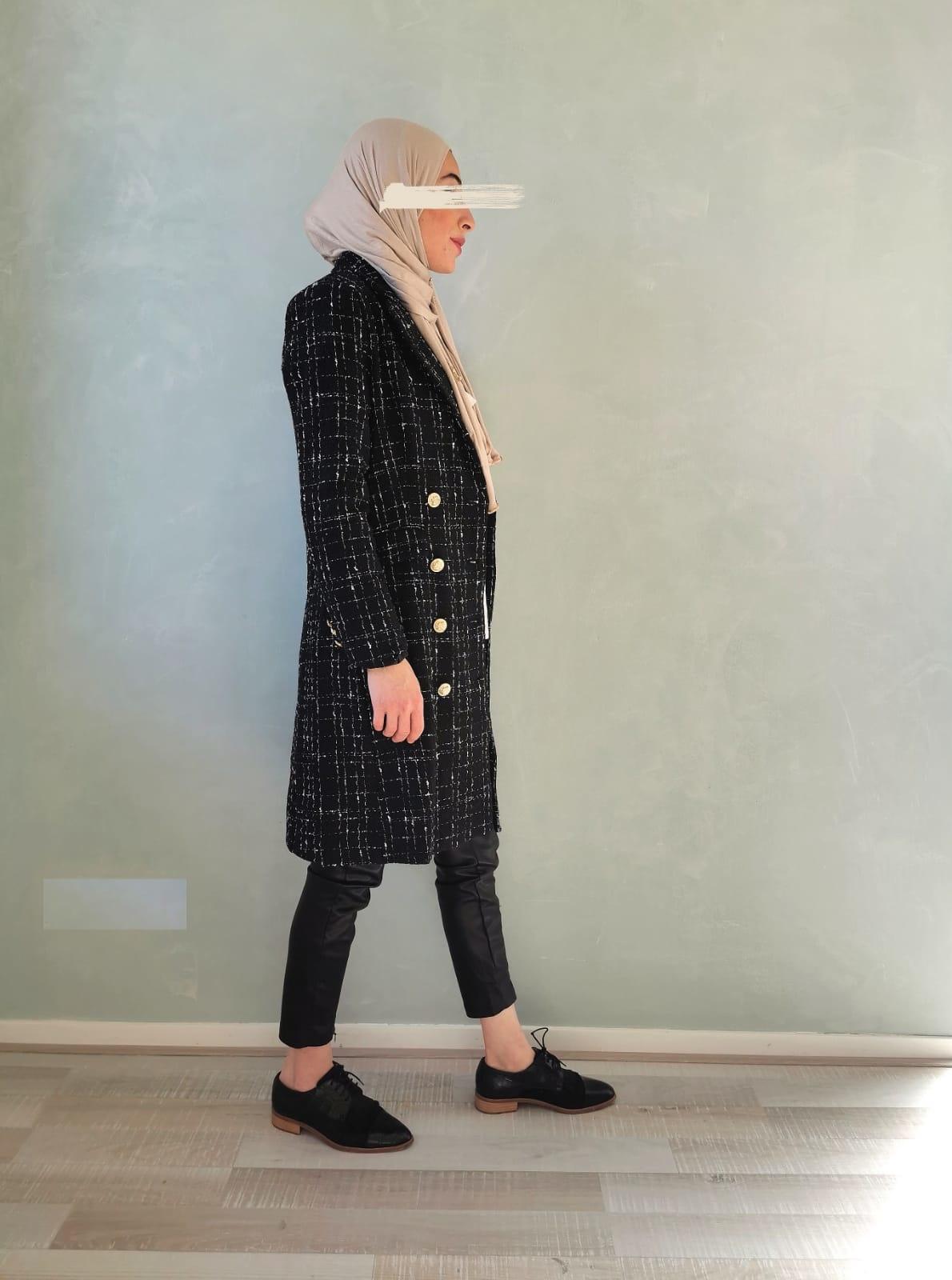 Tweed jas blocked zwart