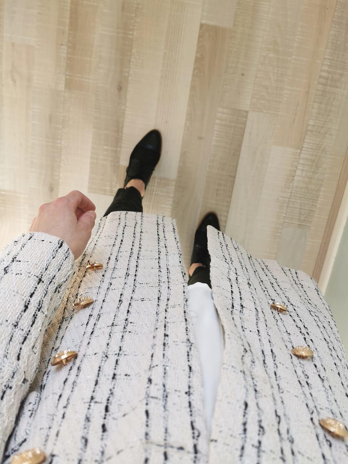 Tweed jas blocked gebroken wit