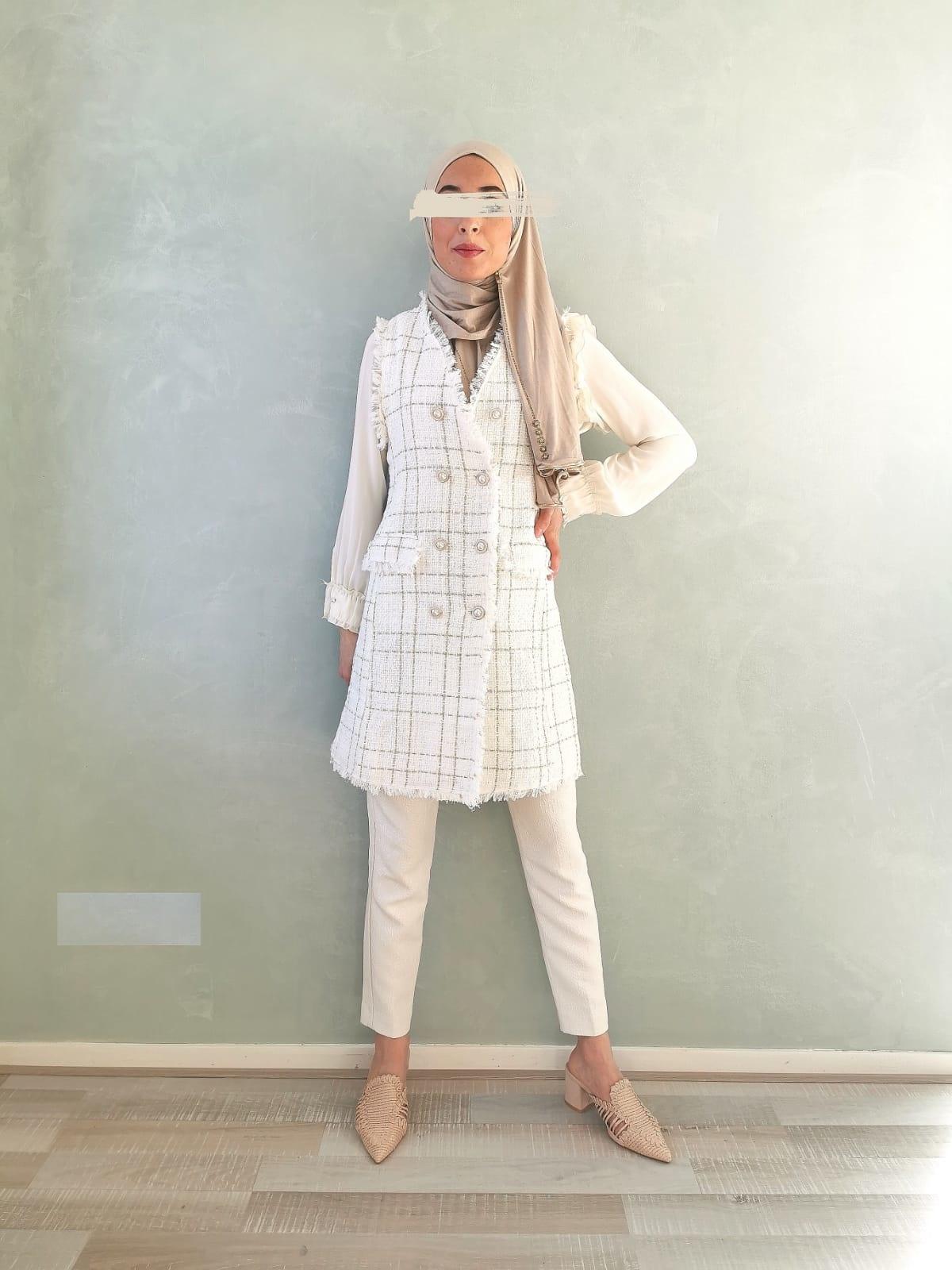 Mouwloze tweed jasje blocked wit/gold