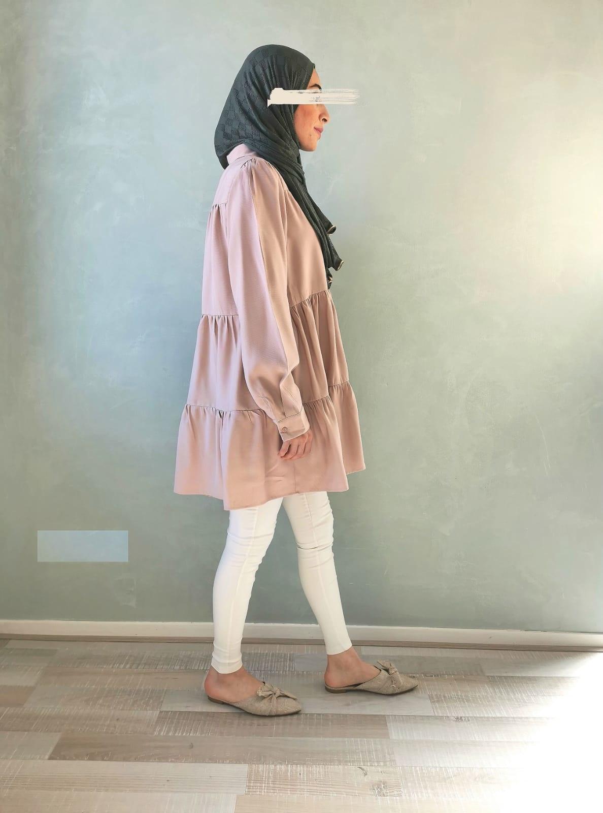 Tuniek denim stof roze (oversized)