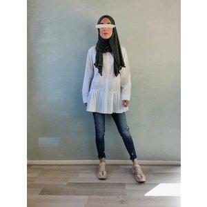 Nette blouse met plooien wit