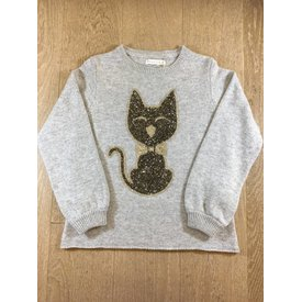 Pauline B Campanulle-M042 pull m/l col rond + gros chat