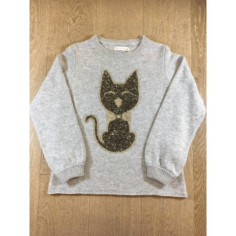 Campanulle-M042 pull m/l col rond + gros chat