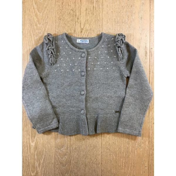 Mayoral 4328 knit cardigan with flounces
