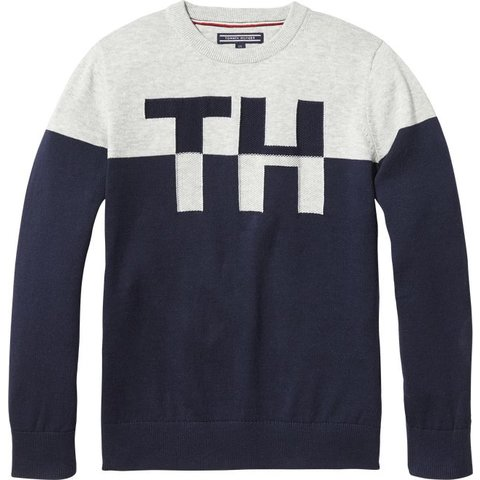 KB04042 th colorblock crew neck sweater