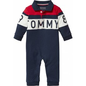 Tommy hilfiger newborn KN00869 baby polo colorblock coverall