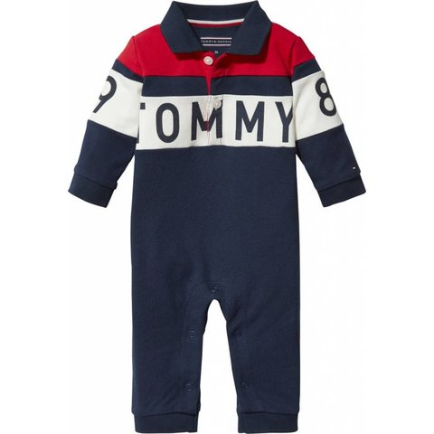 KN00869 baby polo colorblock coverall