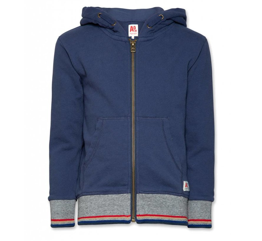 119-2206-53Full zip sweater striped rib