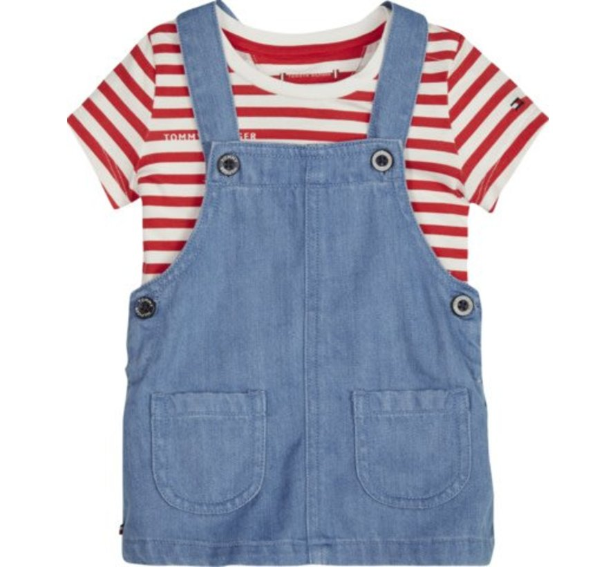 KN00947Baby Dungaree Dress Set
