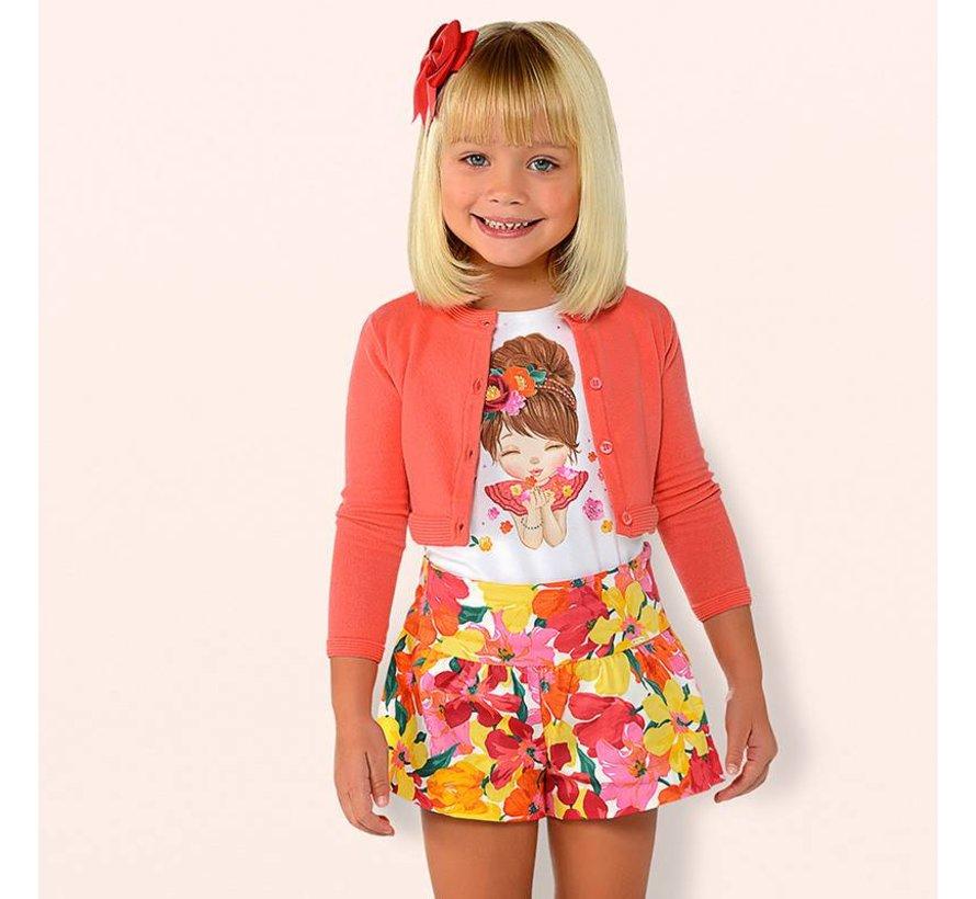 3203Flower printed shorts