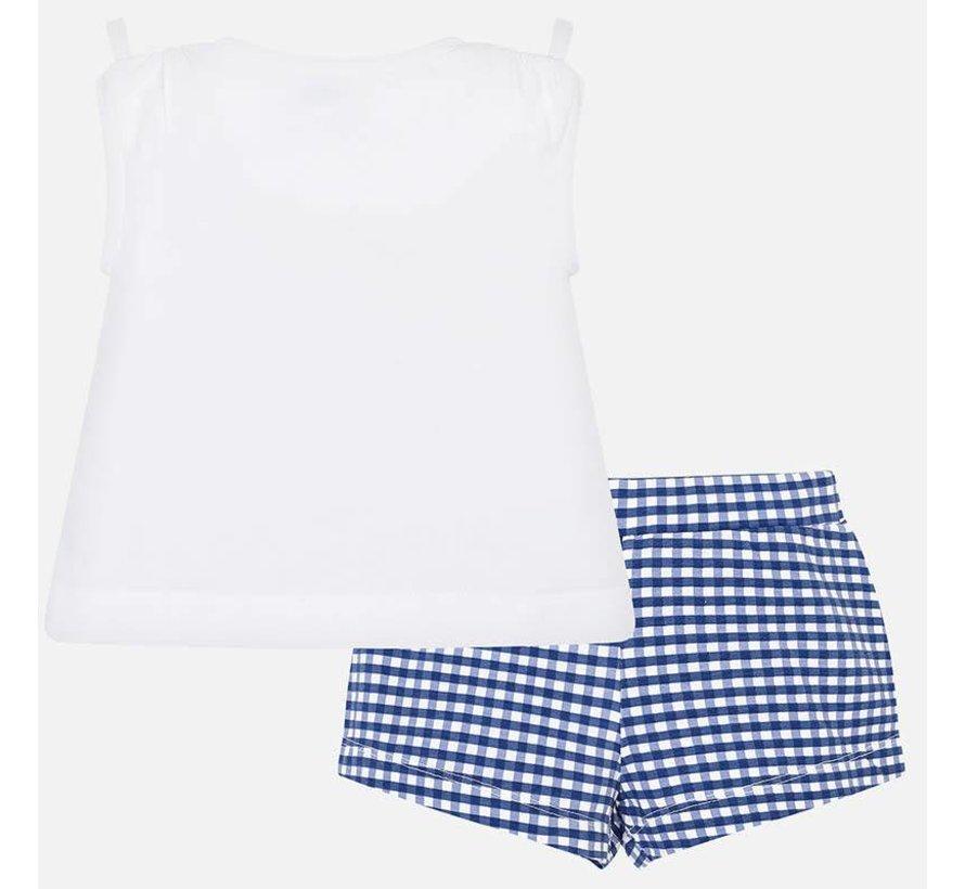 3221Gingham shorts set