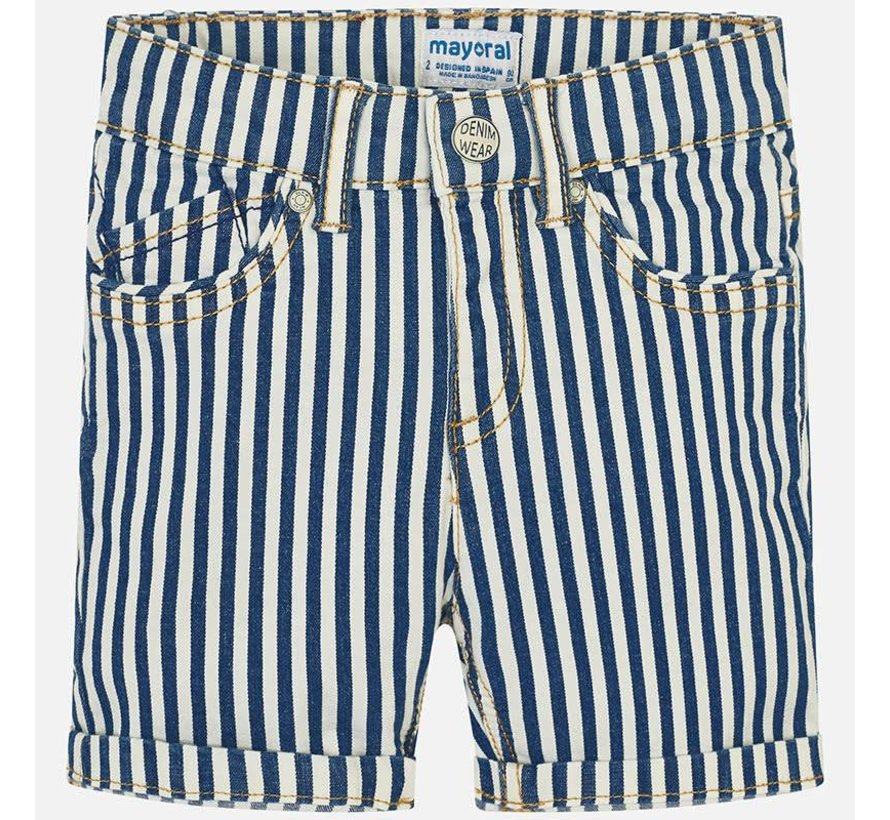 3241Striped denim bermuda shorts