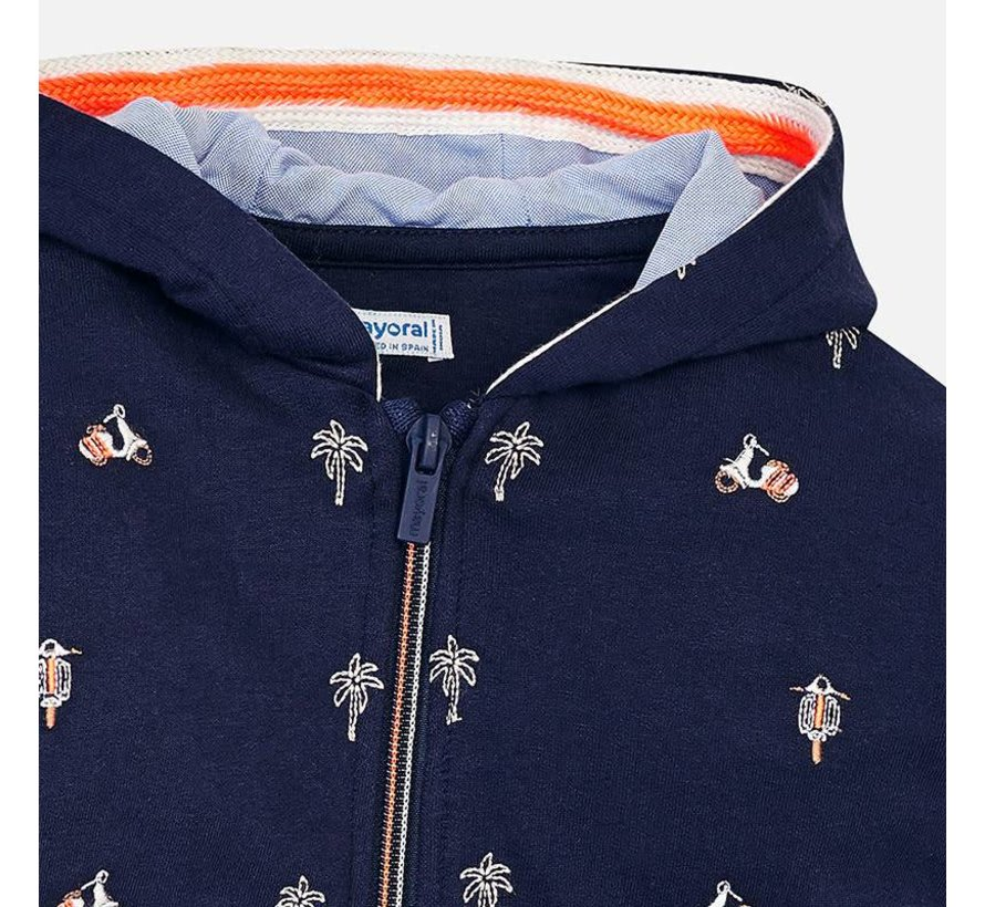 3428Embroidered fleece pullover