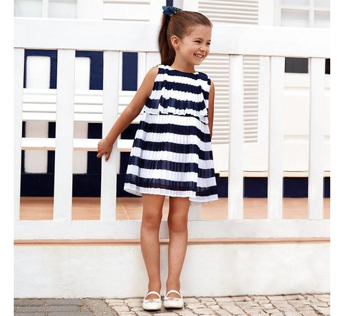 Mayoral 3944Pleated striped dress