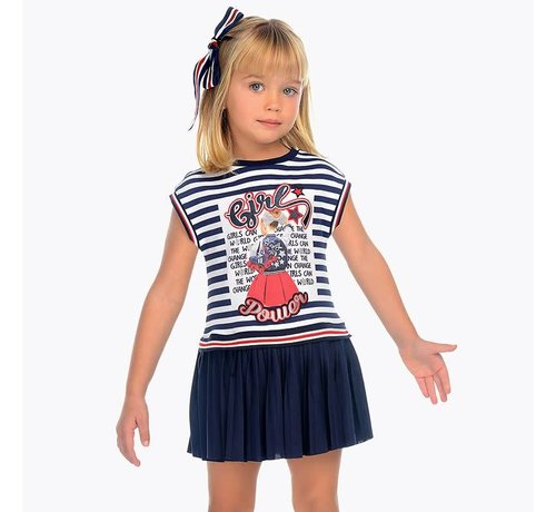 Mayoral 3949Striped pleated dress