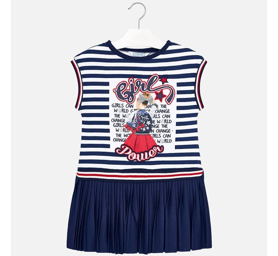 3949Striped pleated dress