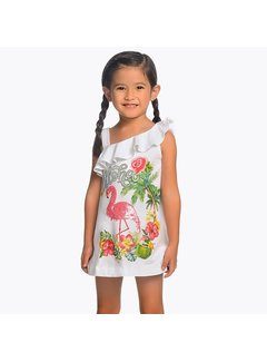 Mayoral 3953Sequin flamingo dress
