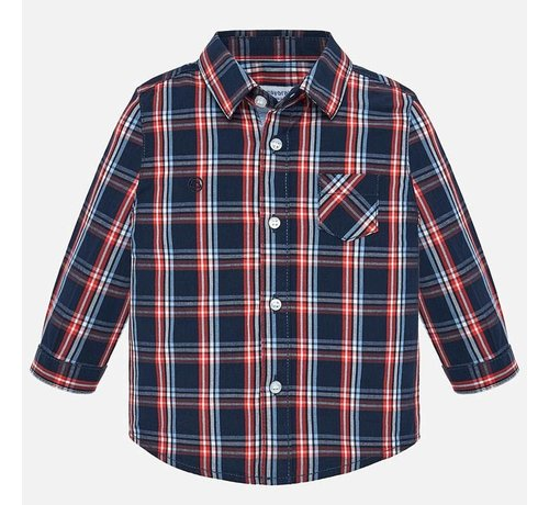 Mayoral 2112L/s poplin check shirt